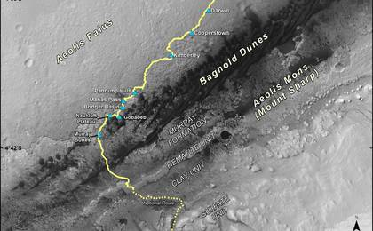 read the article 'Late 2016 Map of NASA's Curiosity Mars Rover Mission'