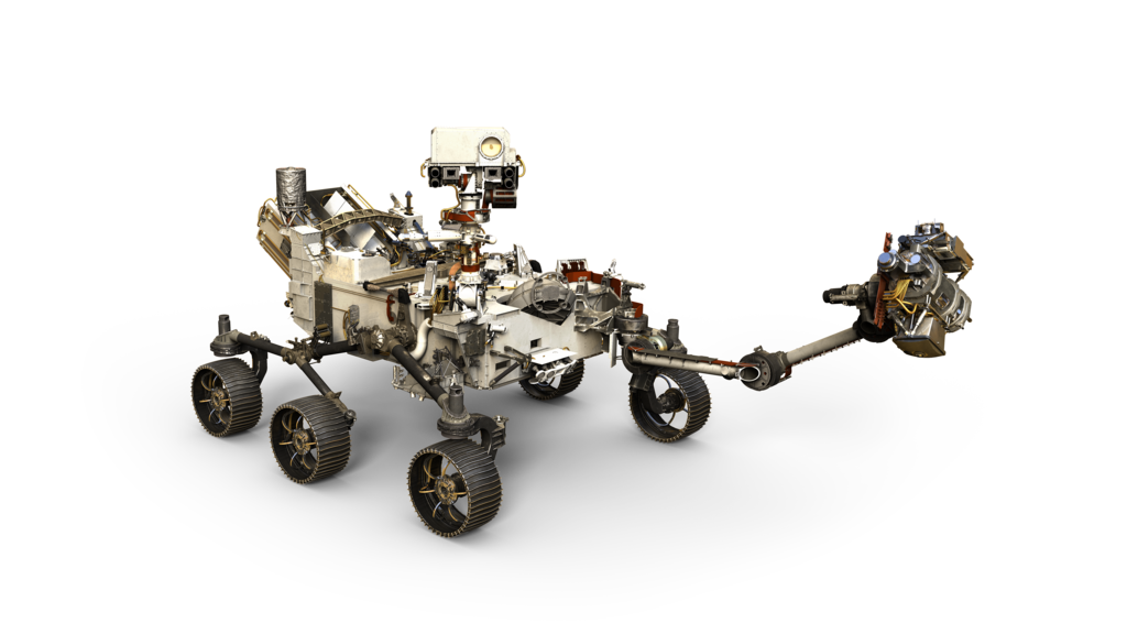 This artist's rendering depicts NASA's Mars 2020 rover, with its robotic arm extended.