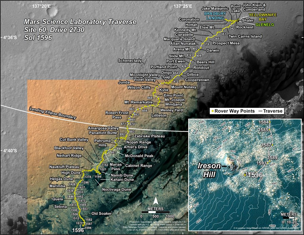 This map shows the route driven by NASA's Mars rover Curiosity through the 1596 Martian day, or sol, of the rover's mission on Mars (February 01, 2017).
