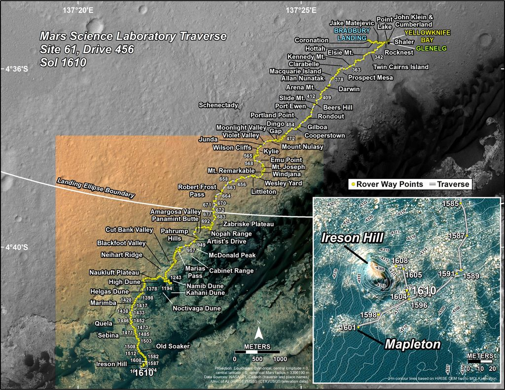 This map shows the route driven by NASA's Mars rover Curiosity through the 1610 Martian day, or sol, of the rover's mission on Mars (February 15, 2017).