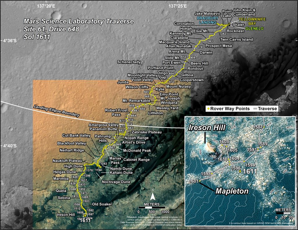 This map shows the route driven by NASA's Mars rover Curiosity through the 1611 Martian day, or sol, of the rover's mission on Mars (February 16, 2017).