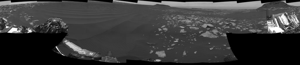 The left side of this 360-degree panorama from NASA's Curiosity Mars rover shows the long rows of ripples on a linear shaped dune in the Bagnold Dune Field on the northwestern flank of Mount Sharp. The rover's Navigation Camera recorded the component images of this mosaic on Feb. 5, 2017.
