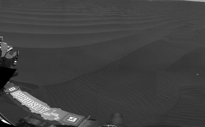 read the article 'Full-Circle Vista With a Linear Shaped Martian Sand Dune'