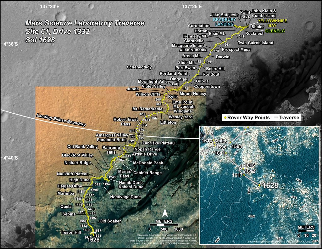 This map shows the route driven by NASA's Mars rover Curiosity through the 1628 Martian day, or sol, of the rover's mission on Mars (March 06, 2017).