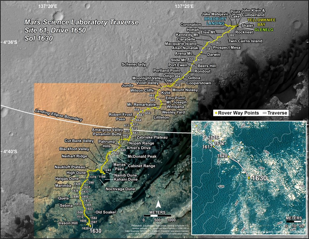 This map shows the route driven by NASA's Mars rover Curiosity through the 1630 Martian day, or sol, of the rover's mission on Mars (March 08, 2017).
