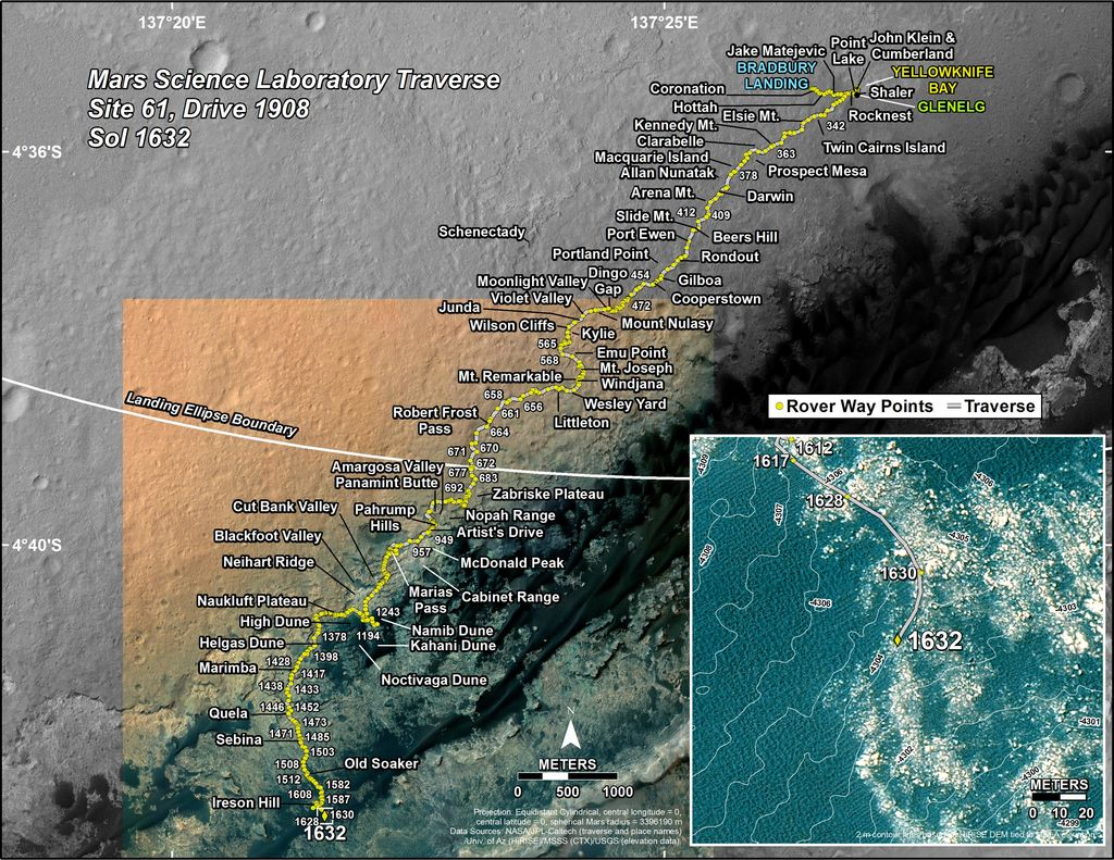 This map shows the route driven by NASA's Mars rover Curiosity through the 1632 Martian day, or sol, of the rover's mission on Mars (March 10, 2017).