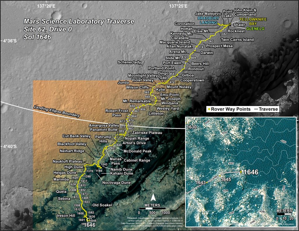 This map shows the route driven by NASA's Mars rover Curiosity through the 1646 Martian day, or sol, of the rover's mission on Mars (March 24, 2017).