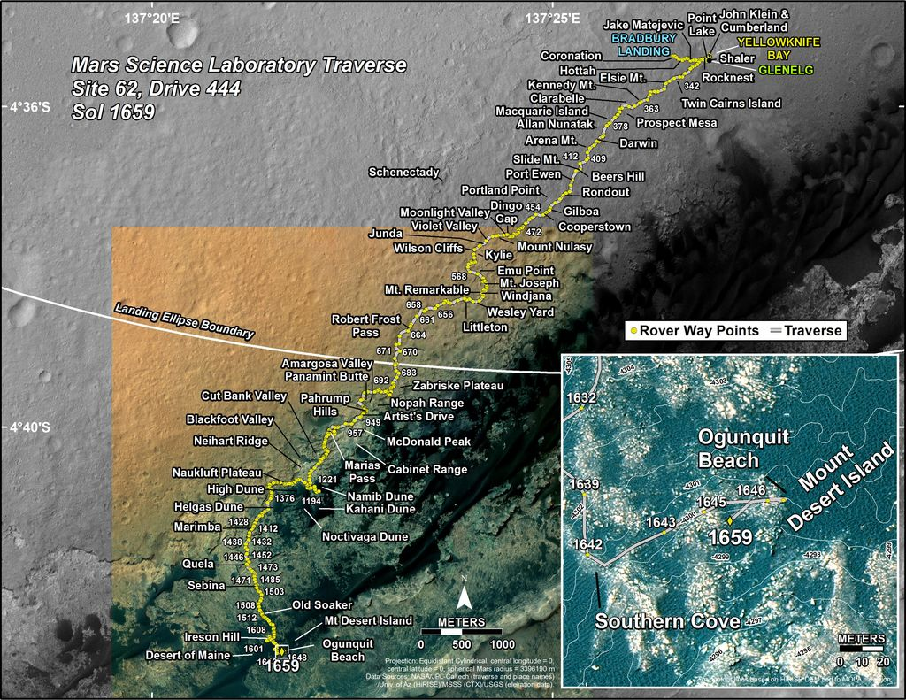 This map shows the route driven by NASA's Mars rover Curiosity through the 1659 Martian day, or sol, of the rover's mission on Mars (April 07, 2017).