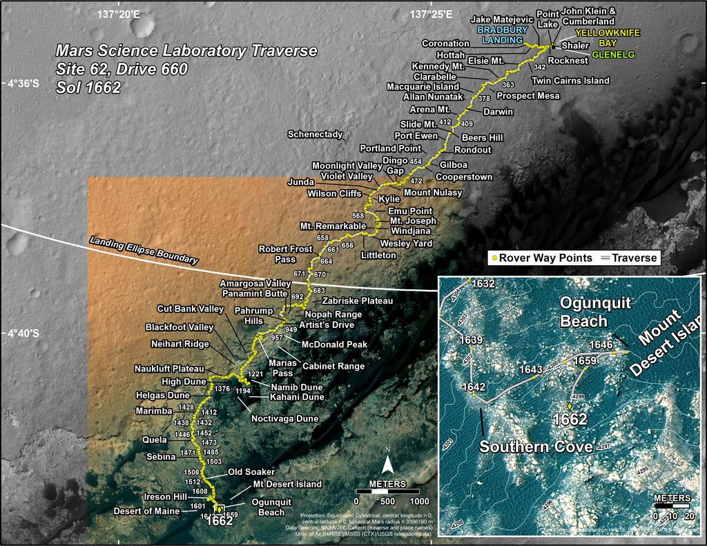 This map shows the route driven by NASA's Mars rover Curiosity through the 1662 Martian day, or sol, of the rover's mission on Mars (April 10, 2017).