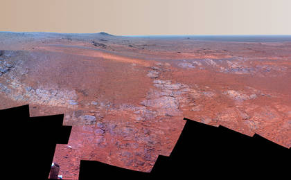 read the article 'Mars Rover Opportunity's Panorama of 'Rocheport' (Enhanced Color)'