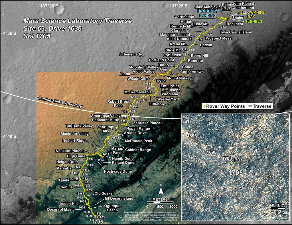 This map shows the route driven by NASA's Mars rover Curiosity through the 1705 Martian day, or sol, of the rover's mission on Mars (May 22, 2017).