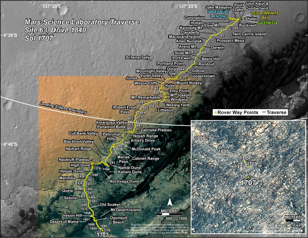 This map shows the route driven by NASA's Mars rover Curiosity through the 1707 Martian day, or sol, of the rover's mission on Mars (May 26, 2017).