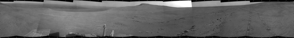 """Perseverance Valley"" lies just on the other side of the dip in the crater rim visible in this view from the Navigation Camera (Navcam) on NASA's long-lived Mars Exploration Rover Opportunity, which arrived at this destination in early May 2017 in preparation for driving down the valley."