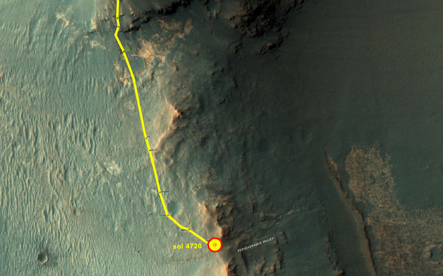 "This graphic shows the route that NASA's Mars Exploration Rover Opportunity drove in its final approach to ""Perseverance Valley"" on the western rim of Endeavour Crater during spring 2017."