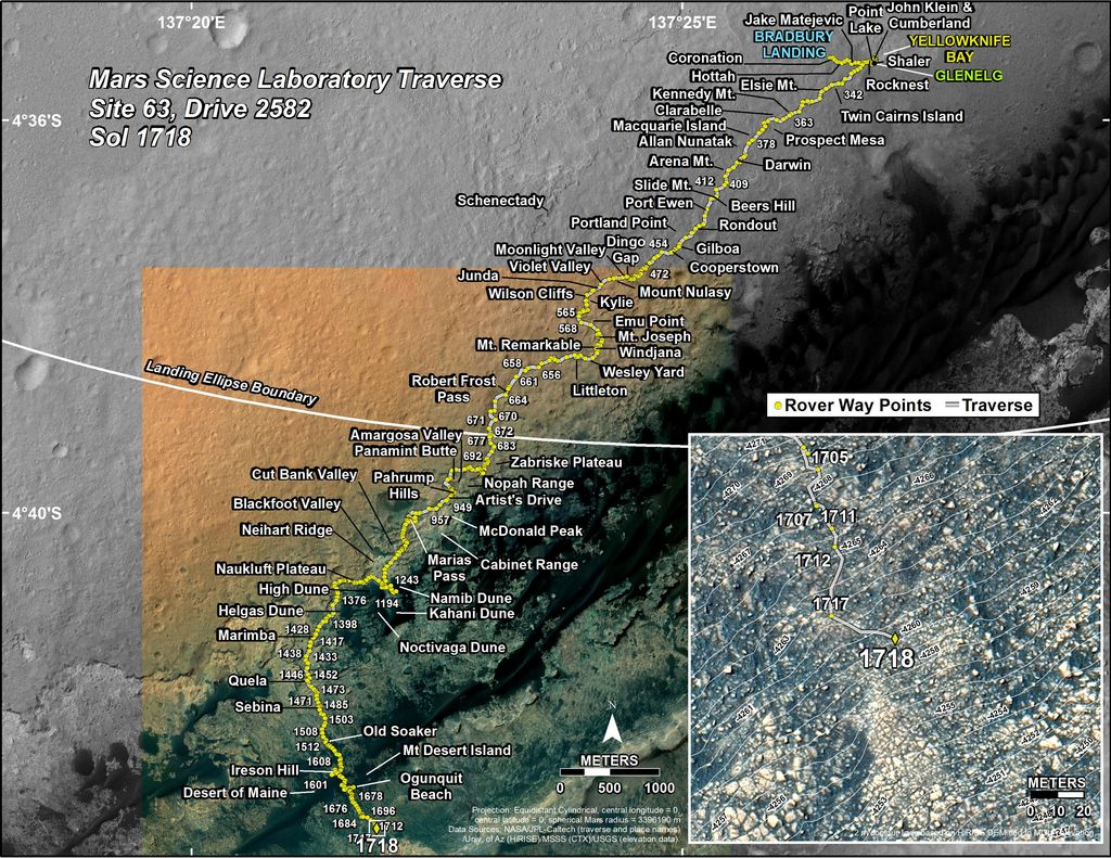 This map shows the route driven by NASA's Mars rover Curiosity through the 1718 Martian day, or sol, of the rover's mission on Mars (June 06, 2017).