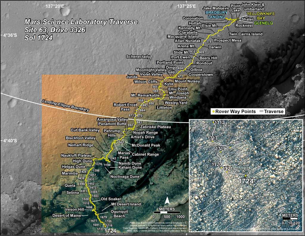 This map shows the route driven by NASA's Mars rover Curiosity through the 1724 Martian day, or sol, of the rover's mission on Mars (June 12, 2017).