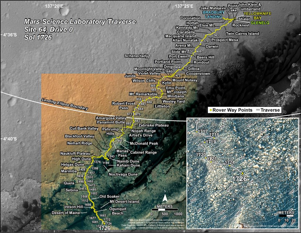 This map shows the route driven by NASA's Mars rover Curiosity through the 1726 Martian day, or sol, of the rover's mission on Mars (June 12, 2017).