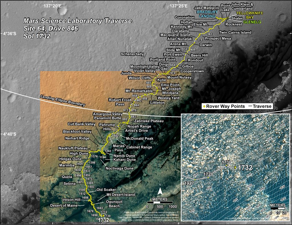 This map shows the route driven by NASA's Mars rover Curiosity through the 1732 Martian day, or sol, of the rover's mission on Mars (June 21, 2017).