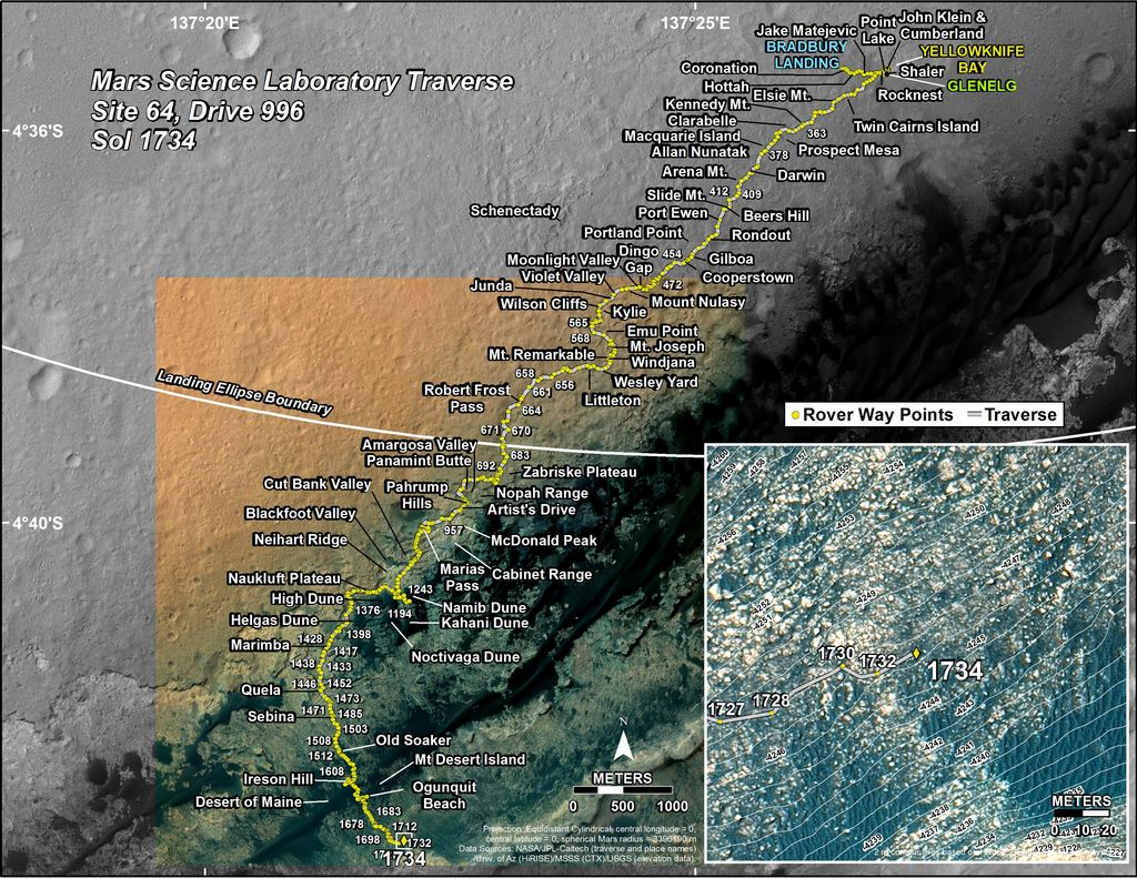 This map shows the route driven by NASA's Mars rover Curiosity through the 1734 Martian day, or sol, of the rover's mission on Mars (June 23, 2017).