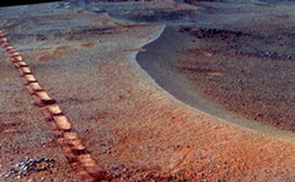read the article 'Mars Rover Opportunity's View of 'Orion Crater' (Enhanced Color)'