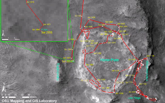 This image shows Spirit's traverse map through sol 2555