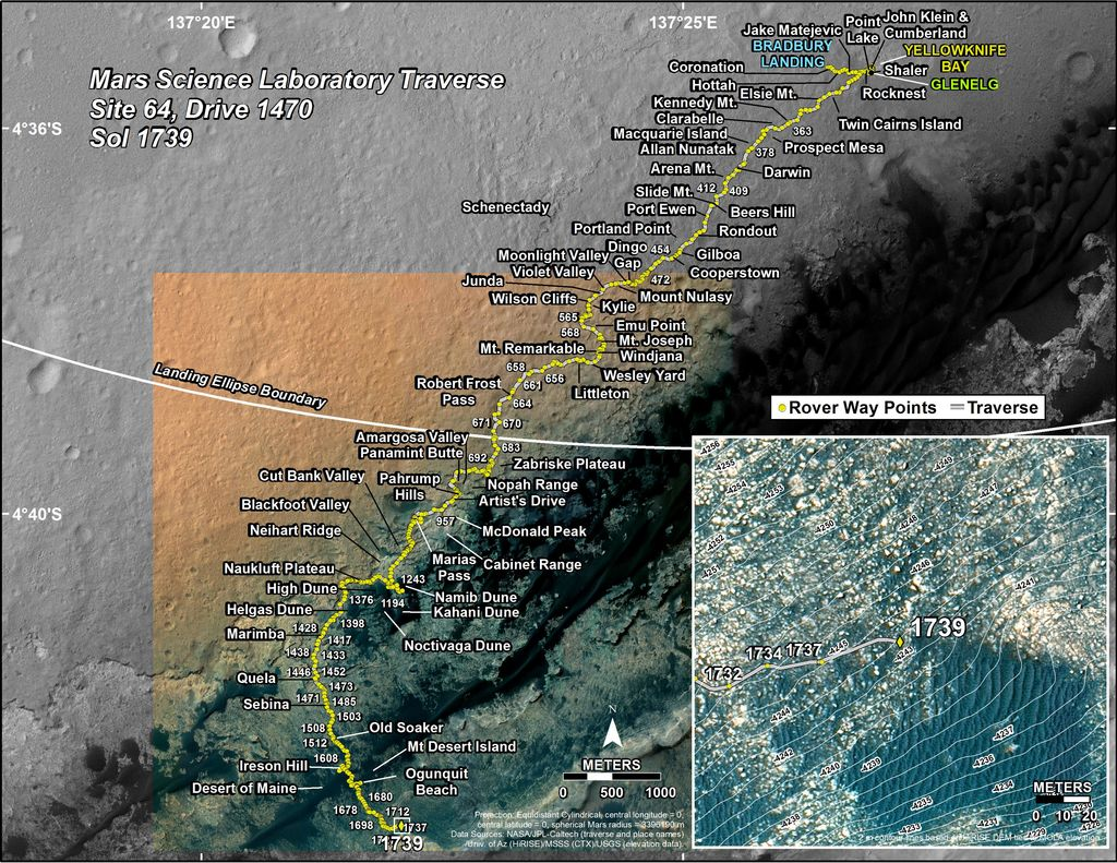This map shows the route driven by NASA's Mars rover Curiosity through the 1739 Martian day, or sol, of the rover's mission on Mars (June 28, 2017).