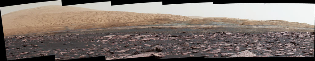 "This early 2017 look ahead from the Mastcam of NASA's Curiosity Mars rover includes four geological layers to be examined by the mission, and higher reaches of Mount Sharp beyond the planned study area. ""Vera Rubin Ridge"" sits just above the reddish foreground rocks of the Murray formation."