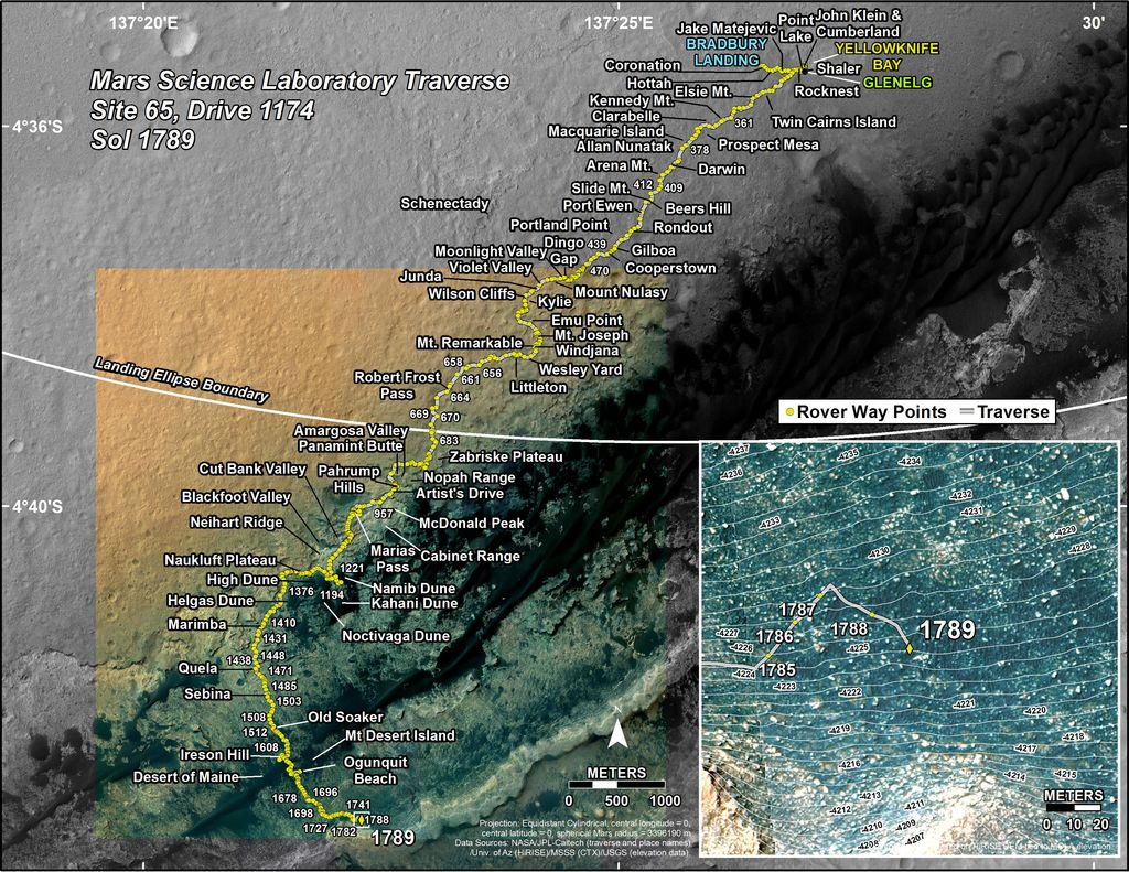 This map shows the route driven by NASA's Mars rover Curiosity through the 1789 Martian day, or sol, of the rover's mission on Mars (August 18, 2017).