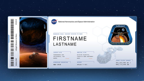 "An example of a ""boarding pass"" that members of the public can download by participating in NASA's Frequent Flyers program. With each NASA mission that flies their names, individuals can accumulate ""miles"" on their boarding pass."