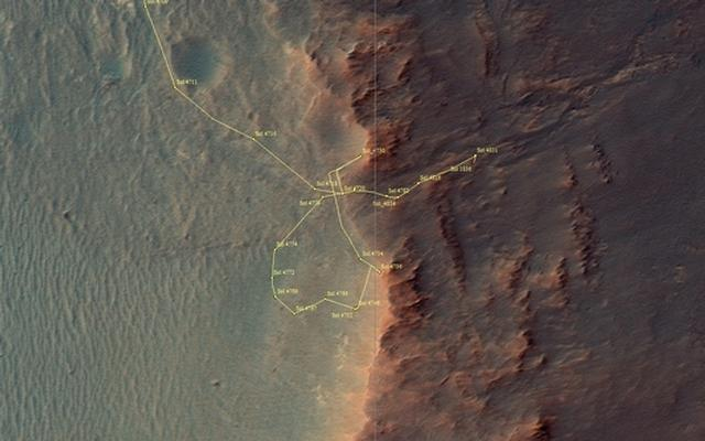 This image shows Opportunity's traverse map through sol 4836
