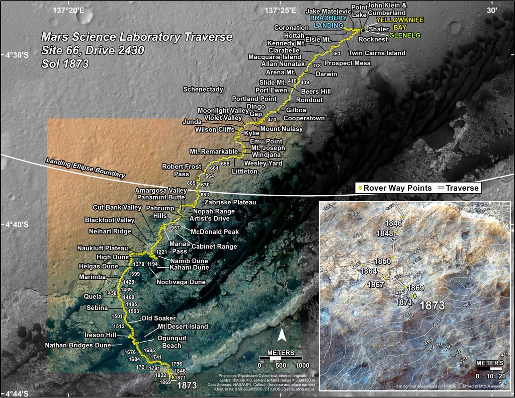 This map shows the route driven by NASA's Mars rover Curiosity through the 1873 Martian day, or sol, of the rover's mission on Mars (November 13, 2017).