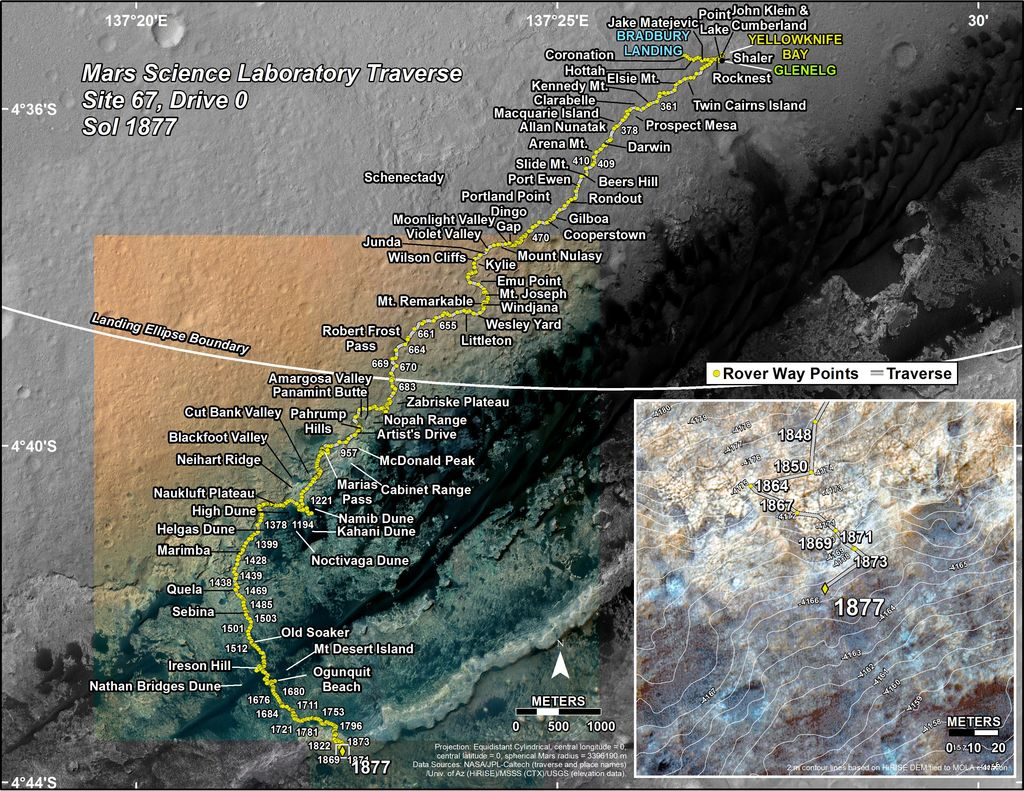 This map shows the route driven by NASA's Mars rover Curiosity through the 1877 Martian day, or sol, of the rover's mission on Mars (November 20, 2017).