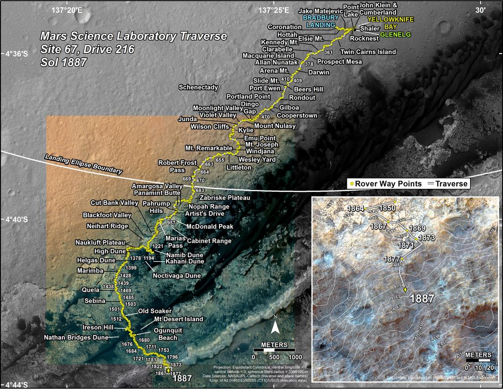 This map shows the route driven by NASA's Mars rover Curiosity through the 1887 Martian day, or sol, of the rover's mission on Mars (November 30, 2017).