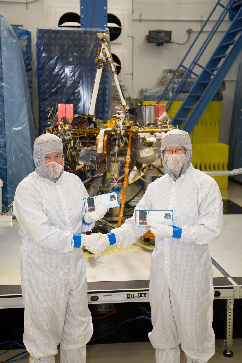InSight project manager Tom Hoffman and principal investigator Bruce Banerdt pose with their