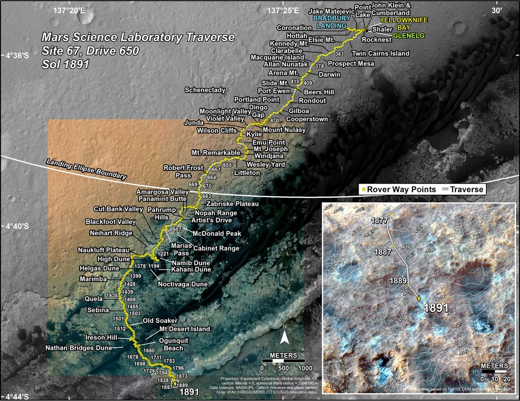 This map shows the route driven by NASA's Mars rover Curiosity through the 1891 Martian day, or sol, of the rover's mission on Mars (December 01, 2017).