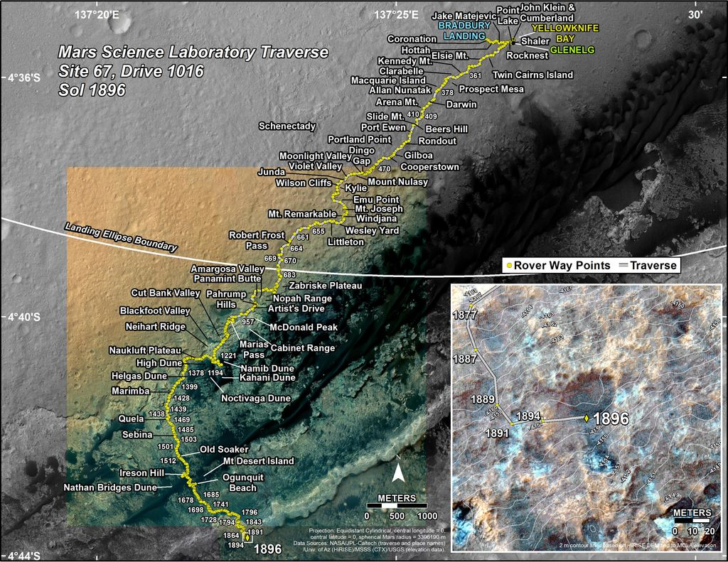 This map shows the route driven by NASA's Mars rover Curiosity through the 1896 Martian day, or sol, of the rover's mission on Mars (December 06, 2017).