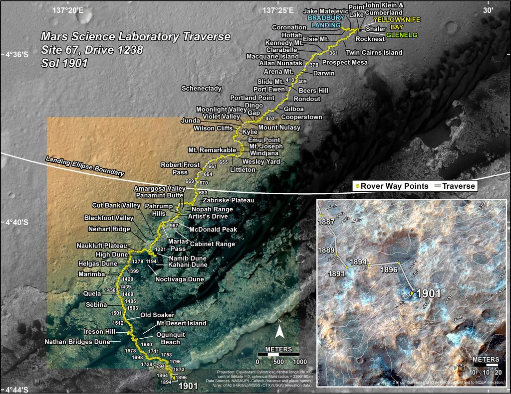 This map shows the route driven by NASA's Mars rover Curiosity through the 1901 Martian day, or sol, of the rover's mission on Mars (December 11, 2017).