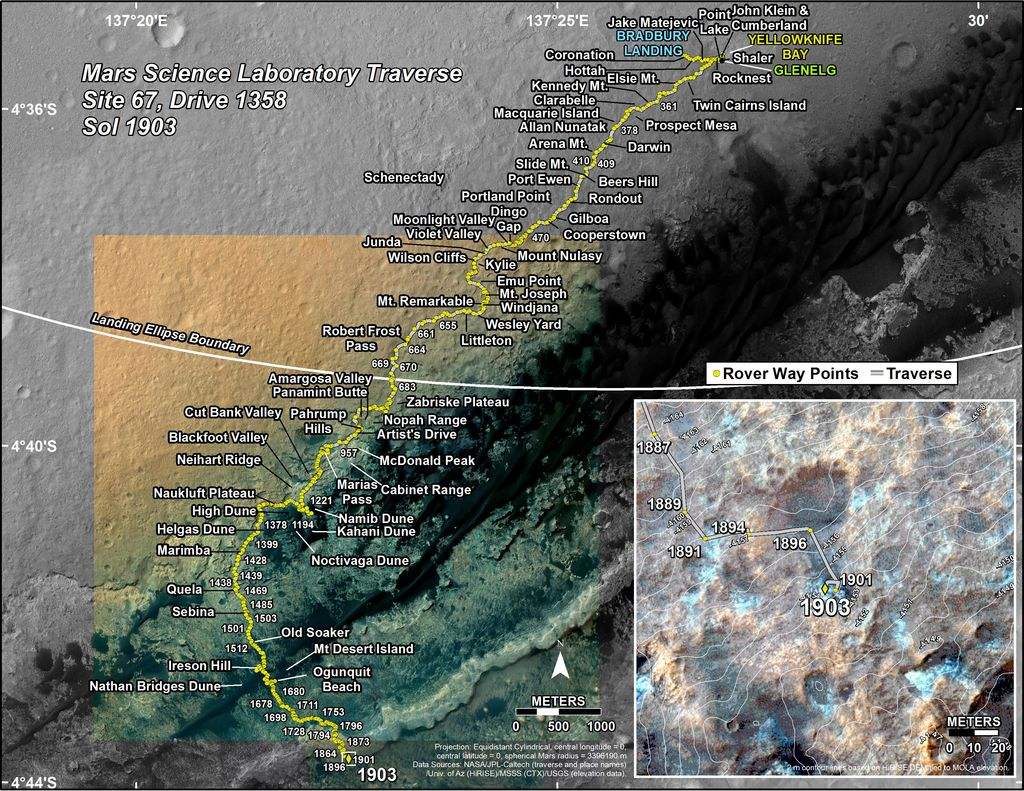This map shows the route driven by NASA's Mars rover Curiosity through the 1903 Martian day, or sol, of the rover's mission on Mars (December 13, 2017).