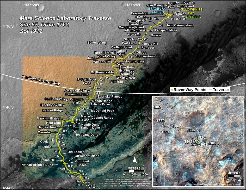 This map shows the route driven by NASA's Mars rover Curiosity through the 1912 Martian day, or sol, of the rover's mission on Mars (December 22, 2017).