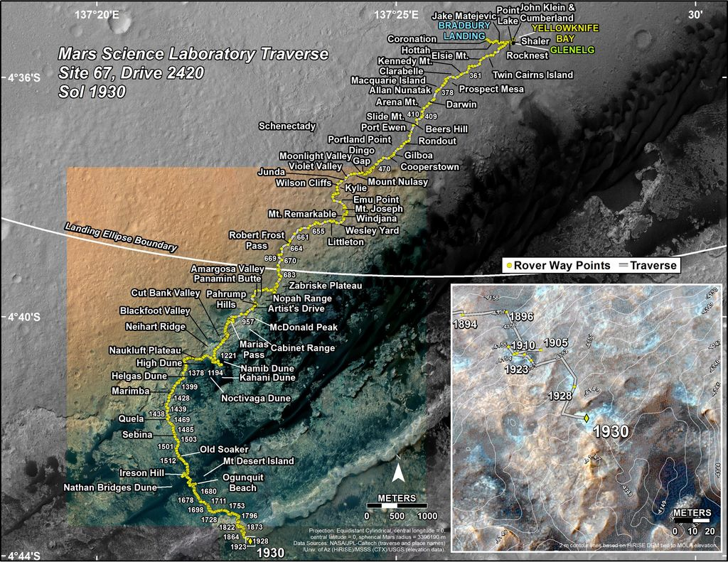 This map shows the route driven by NASA's Mars rover Curiosity through the 1930 Martian day, or sol, of the rover's mission on Mars (January 10, 2018).