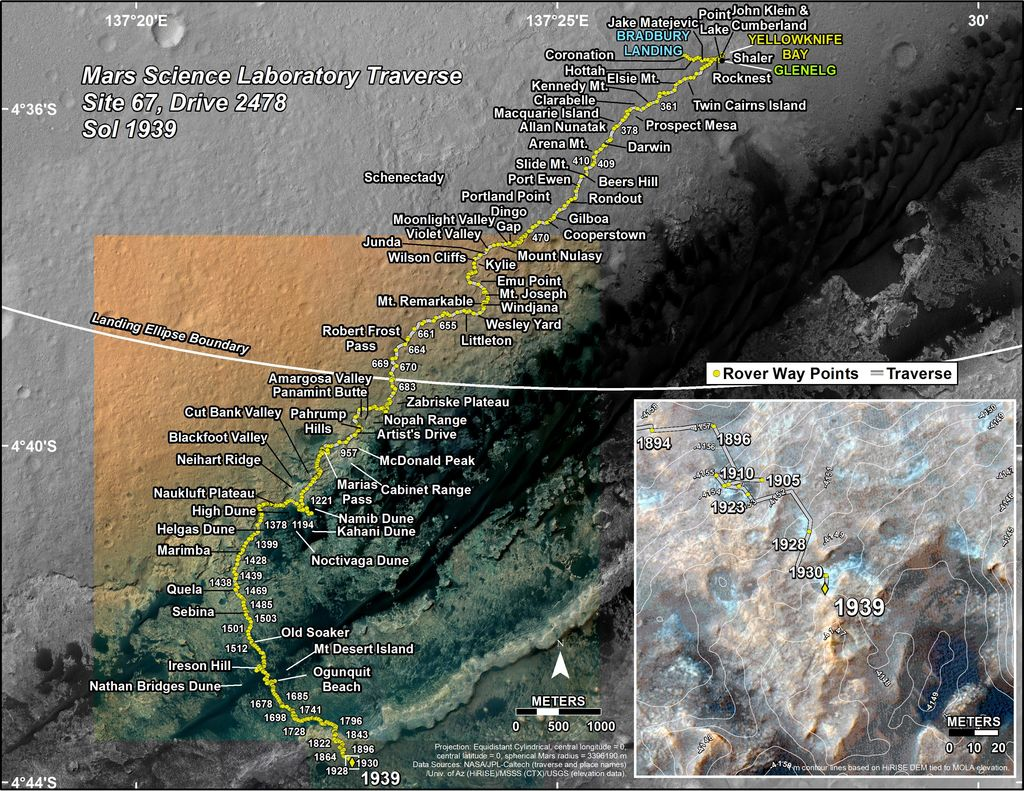 This map shows the route driven by NASA's Mars rover Curiosity through the 1939 Martian day, or sol, of the rover's mission on Mars (January 19, 2018).