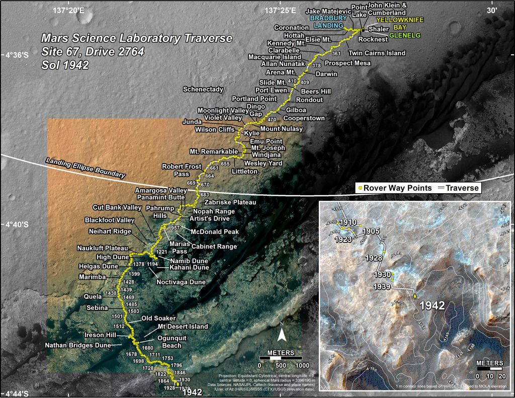 This map shows the route driven by NASA's Mars rover Curiosity through the 1942 Martian day, or sol, of the rover's mission on Mars (January 22, 2018).