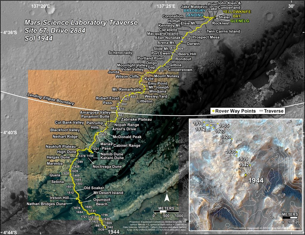 This map shows the route driven by NASA's Mars rover Curiosity through the 1944 Martian day, or sol, of the rover's mission on Mars (January 24, 2018).