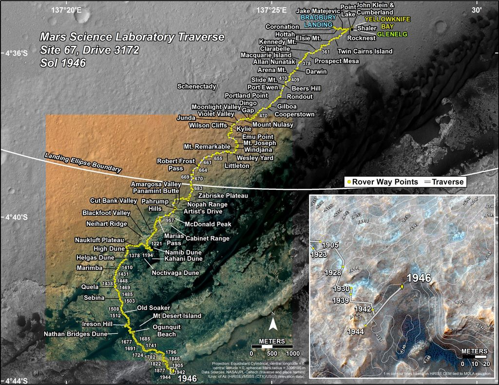 This map shows the route driven by NASA's Mars rover Curiosity through the 1946 Martian day, or sol, of the rover's mission on Mars (January 26, 2018).