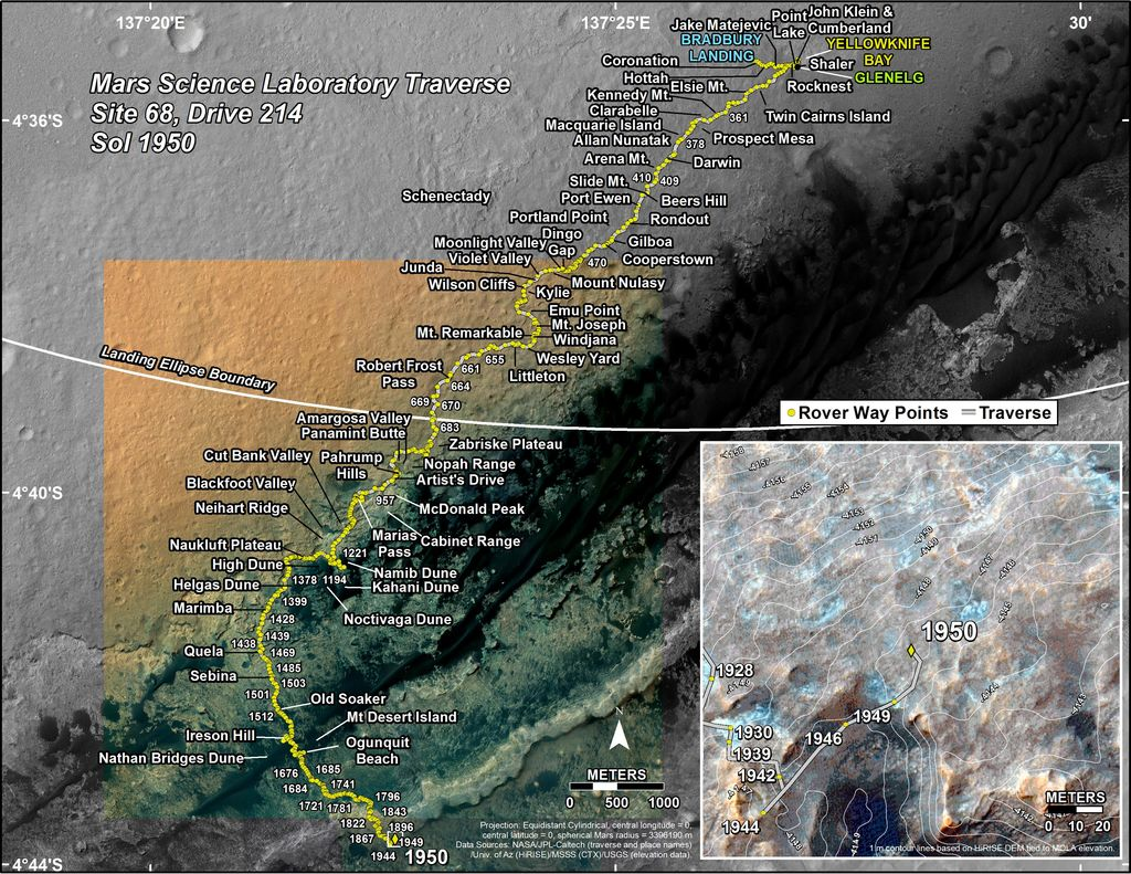 This map shows the route driven by NASA's Mars rover Curiosity through the 1950 Martian day, or sol, of the rover's mission on Mars (January 31, 2018).