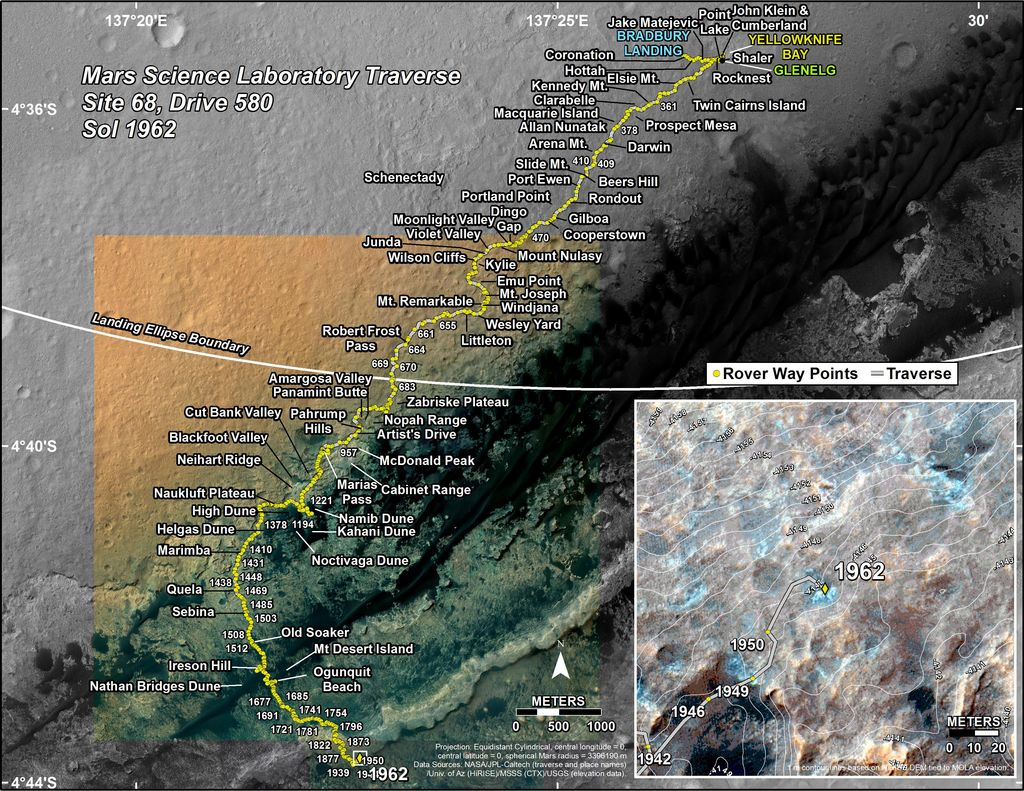 This map shows the route driven by NASA's Mars rover Curiosity through the 1962 Martian day, or sol, of the rover's mission on Mars (February 12, 2018).