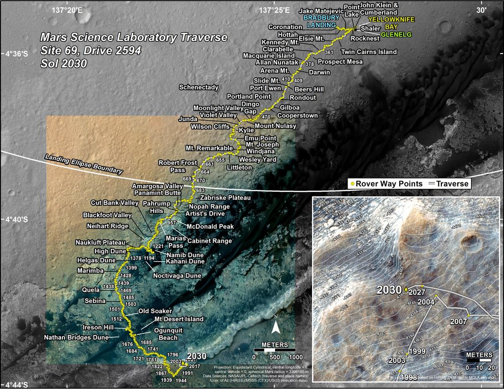 This map shows the route driven by NASA's Mars rover Curiosity through the 2030 Martian day, or sol, of the rover's mission on Mars (April 23, 2018).