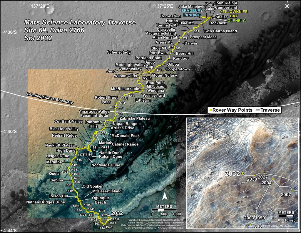 This map shows the route driven by NASA's Mars rover Curiosity through the 2032 Martian day, or sol, of the rover's mission on Mars (April 25, 2018).