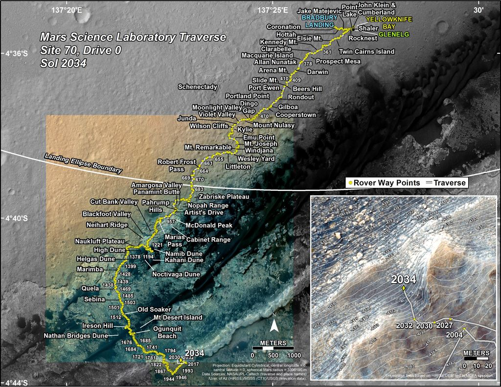 This map shows the route driven by NASA's Mars rover Curiosity through the 2034 Martian day, or sol, of the rover's mission on Mars (April 27, 2018).