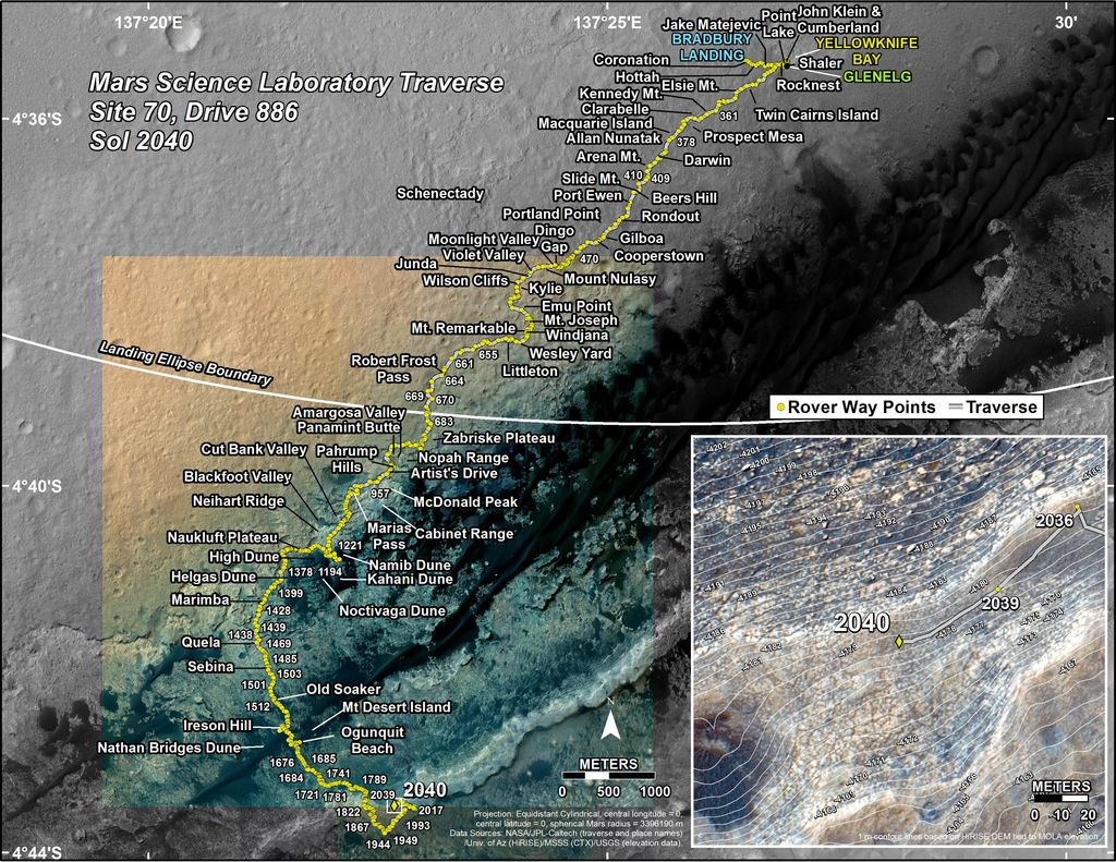 This map shows the route driven by NASA's Mars rover Curiosity through the 2040 Martian day, or sol, of the rover's mission on Mars (May 04, 2018).